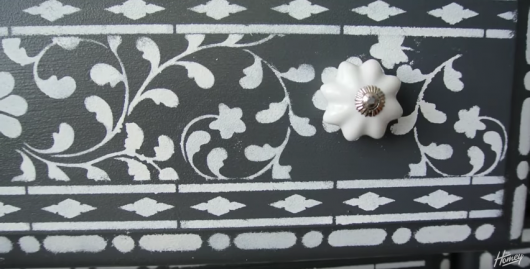Learn how to stencil a dresser for a bone inlay look using the Indian Inlay Stencil kit from Cutting Edge Stencils. http://www.cuttingedgestencils.com/indian-inlay-stencil-furniture.html