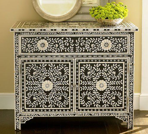 Recreate this bone inlay look using the Indian Inlay Stencil Kit from Cutting Edge Stencils. http://www.cuttingedgestencils.com/indian-inlay-stencil-furniture.html