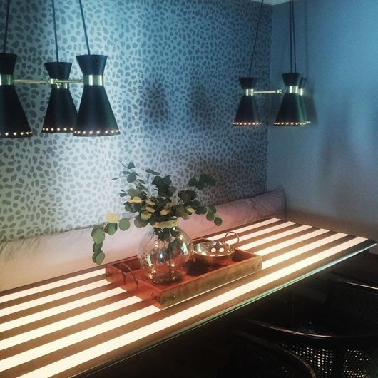 A DIY stenciled dining room accent wall using the Leopard Skin Allover Stencil from Cutting Edge Stencils. http://www.cuttingedgestencils.com/leopard-pattern-animal-skin-stencil.html