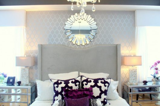 A DIY stenciled master bedroom in gray and metallic silver using the Moroccan Dream Allover Stencil from Cutting Edge Stencils. http://www.cuttingedgestencils.com/moroccan-stencil-design.html
