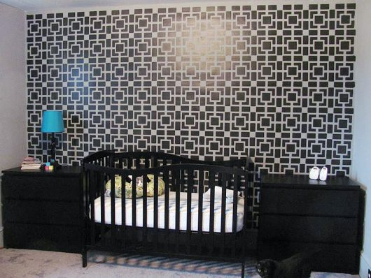 A DIY stenciled nursery accent wall using the Outside the Box Stencil from Cutting Edge Stencils. http://www.cuttingedgestencils.com/allover-stencil-pattern-box.html