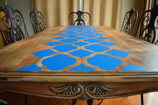 A DIY stenciled wooden table using the Rabat Furniture Stencil from Cutting Edge Stencils. http://www.cuttingedgestencils.com/rabat-furniture-fabric-stencil.html
