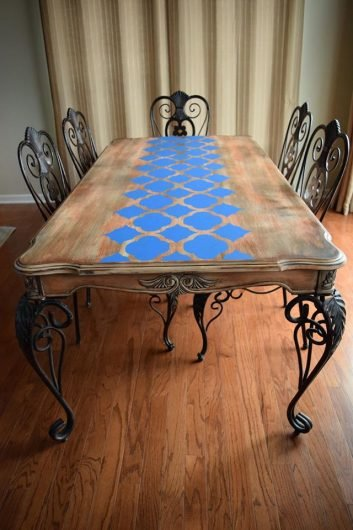 Learn how to stencil a DIY wooden table using the Rabat Furniture Stencil from Cutting Edge Stencils. http://www.cuttingedgestencils.com/rabat-furniture-fabric-stencil.html