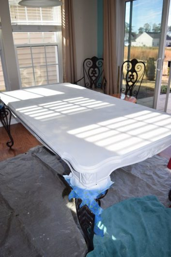 An old table is primed for its makeover using furniture stencils from Cutting Edge Stencils. http://www.cuttingedgestencils.com/rabat-furniture-fabric-stencil.html