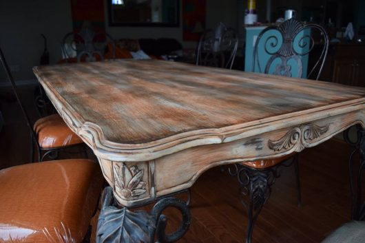 An old table is stained for its makeover using furniture stencils from Cutting Edge Stencils. http://www.cuttingedgestencils.com/rabat-furniture-fabric-stencil.html