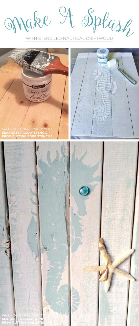 Learn how to stencil DIY reclaimed wood using the Seahorse Stencil from Cutting Edge Stencils. http://www.cuttingedgestencils.com/beach-style-decor-seahorse-stencil.html
