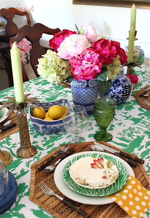 A DIY emerald green stenciled tablecloth using the Secret Garden Toile Stencil from Cutting Edge Stencils. http://www.cuttingedgestencils.com/garden-toile-stencil-chinoiserie-wallpaper.html
