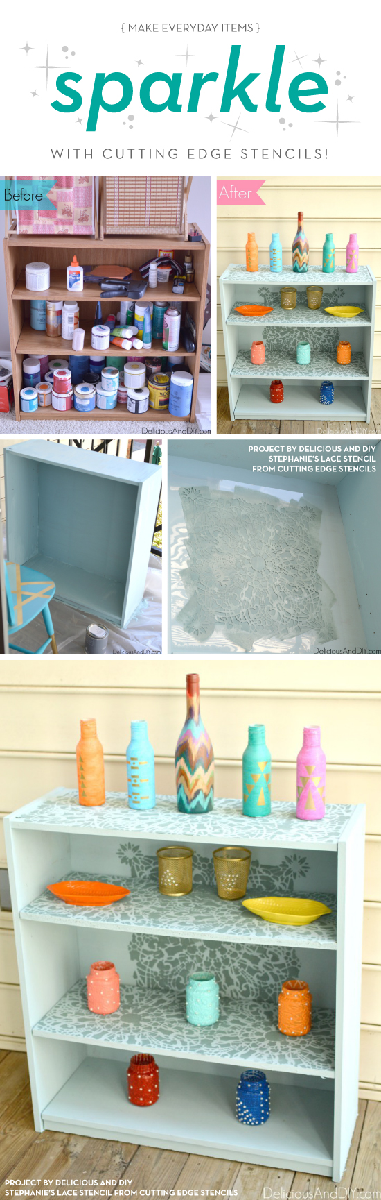Cutting Edge Stencils shares a DIY stenicled bookcase using the Stephanies Lace Stencil. http://www.cuttingedgestencils.com/lace-stencil-wall-decor-stencils.html