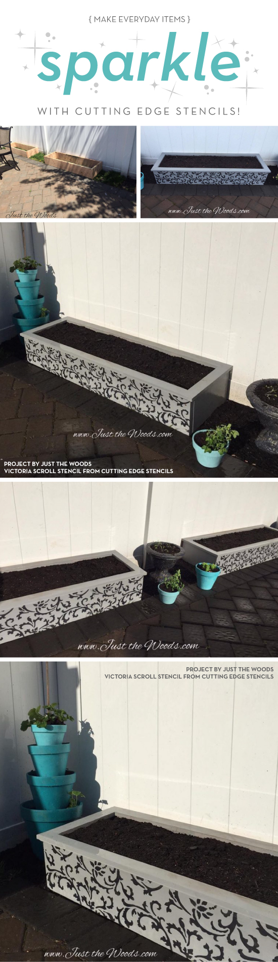 Cutting Edge Stencils shares how to make stenciled garden planters using the Victoria Scroll Stencil. http://www.cuttingedgestencils.com/victoria-scroll-wall-pattern-stencil-diy-wall-decor.html